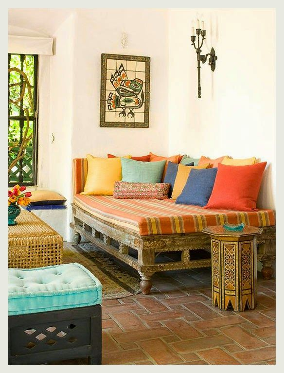 colorful indian homes day bed summer and brick flooring