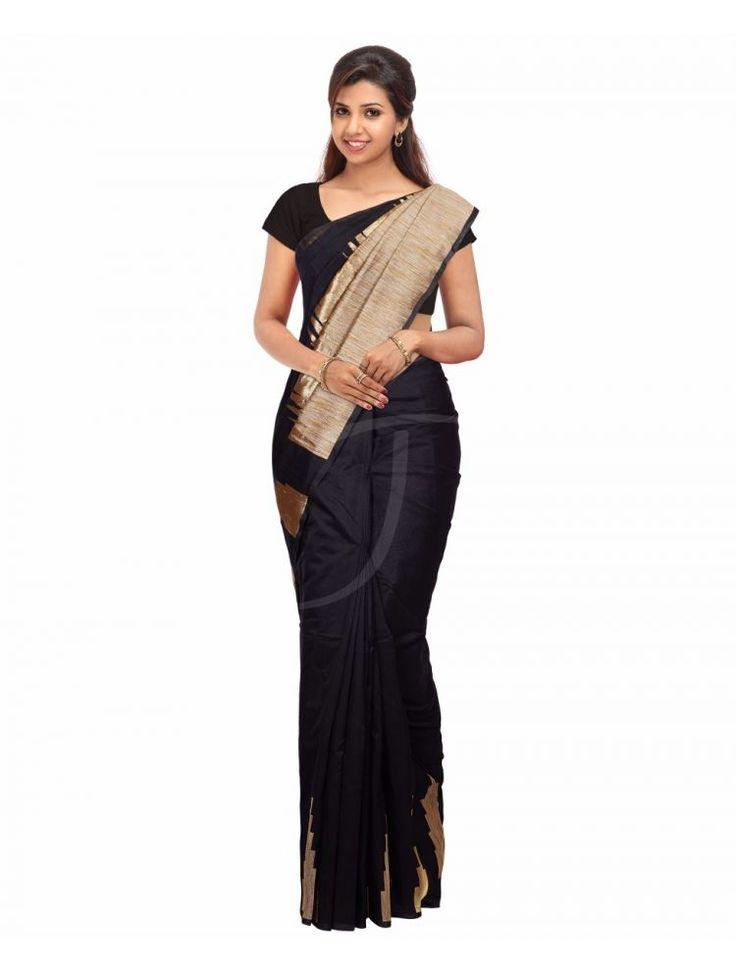 Chanderi Silk Black Colour Saree with Golden and Natural Jute Thread Design