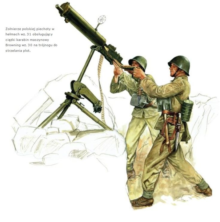 Esercito Polacco - Soldati di Fanteria in postazione con Mitragliatrice Browning 30, 1939