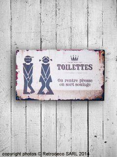 Plaque de porte Toilettes Soulagé-Pressé, #Retrodeco
