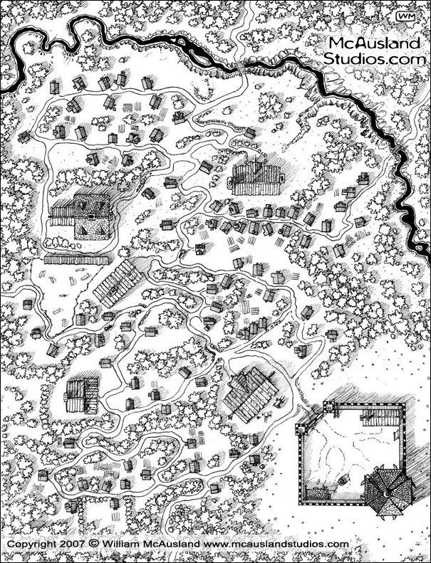 map village fantasy fortress maps creek concept rpg client town medieval title mcauslandstudios unpublished dungeon mcausland ink invitation