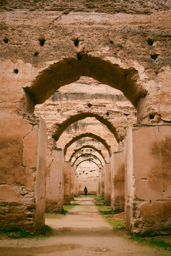 Ruins of the royal stables in Meknes and the hillside town of Moulay Idriss, Morocco