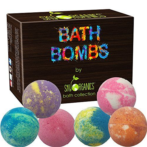 Bath Bombs Gift Set by Sky Organics 6 x 5 Oz Ultra Lush Huge Bath Bombs Kit Best for Aromatherapy Relaxation Moisturizing with Organic & Natural Essential Oils -Handmade Organic Spa Fizzies