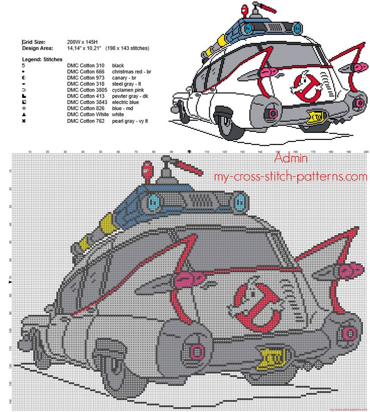 Colored Ghostbusters car cross stitch pattern 198 x 143 10 colors