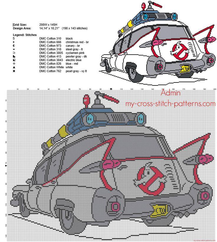 La macchina di Ghostbusters Acchiappafantasmi schema punto croce