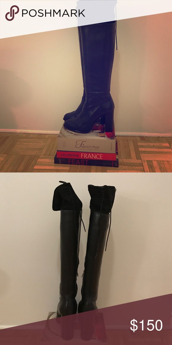 French Connection over-the-knee leather/suede boot Chic, over-the-knee boots. Only worn 2-3 times. Slight scratches on the heels, but overall really great condition. French Connection Shoes Over the Knee Boots