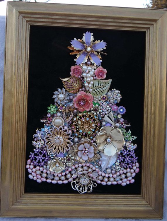 Large Framed JEWELRY CHRISTMAS TREE Gorgeous by MelliesWhimsies