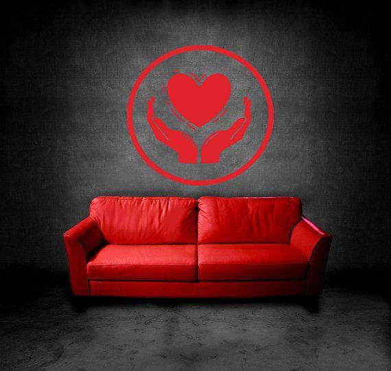 Wall Vinyl Sticker Decals Mural Room Design Heart Hands Love Romantic bo003