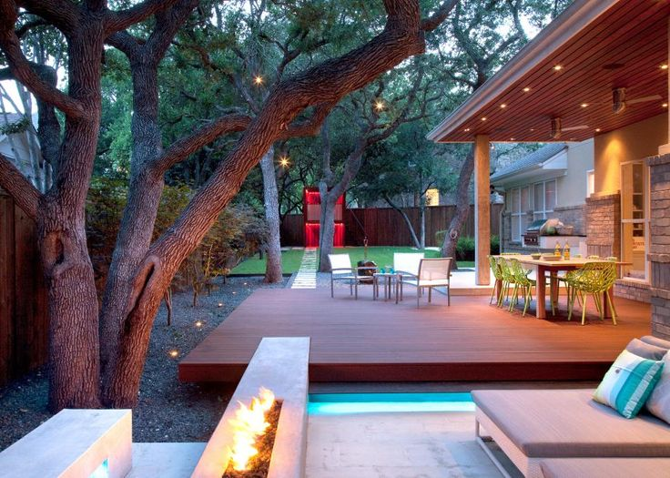 Superior Outdoor Living Area With Kitchen And Color Changing Playhouse