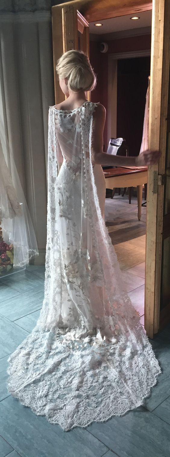 20 Glorious Wedding Dresses with Capes  Claire Pettibone's 'Whitney' Gown