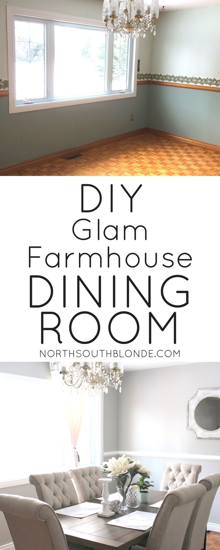 In LOVE with our glam, farmhouse, industrial, chic, & modern dining room. Find out how to DIY here. Our dining room renovation | before & after | home decor | inspiration | dining room ideas | farmhouse, rustic, design | tripton dining set | Ashley Furniture
