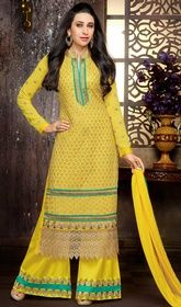 Karisma Kapoor Yellow Color Georgette Palazzo Suit #10colorsbollywoodsuits #bollywooddesignersuits Seek the attention of your onlookers at just a glance with this Karisma Kapoor yellow color georgette palazzo suit. This pretty attire is displaying some unbelievable embroidery done with floral patch, lace and resham work.  USD $ 73 (Around £ 50 & Euro 55)