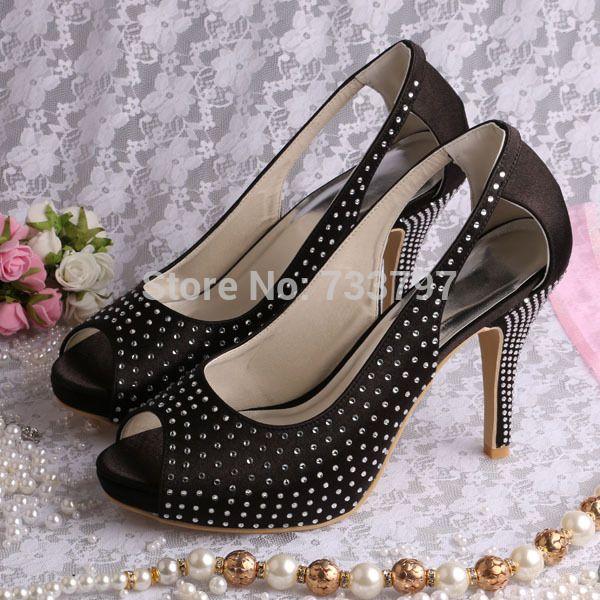 >> Click to Buy << Wedopus High Quality Satin Platform Shoes for Women Summer Big Cutout Strass Wedding Sandal Black #Affiliate