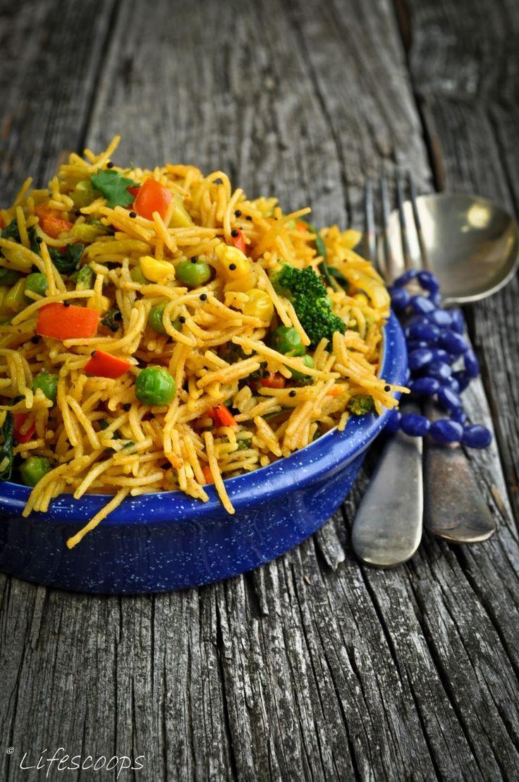 Vegetable Vermicelli Upma, Semiya Upma, Sevai Upma, Bambino Upma, Vermicelli recipes, Indian breakfast dish, Healthy vegetarian Indian dish