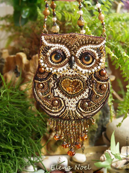 Pendants handmade. Fair Masters - handmade. Buy Knopushka- Beaded Owl pendant with amber and pearls. Handmade.