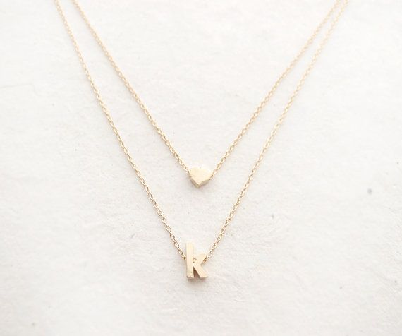 Heart and Initial Layered Necklace- personalized monogram necklace, layered, heart, bridesmaid necklace, gold, lowercase initials on Etsy, $20.00