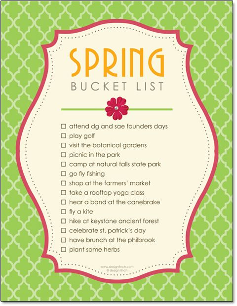 Spring Bucket List - great ideas, with link to PDF you can use to fill in your own list using this beautiful layout