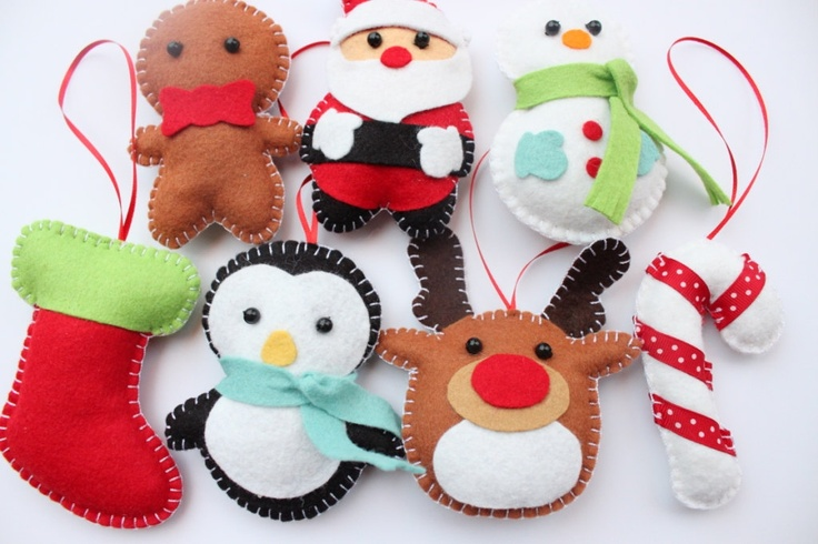 Felt Christmas Ornaments - Santa Claus, Snowman, Gingerbread Man, Candy Cane, Reindeer, Penguin and Stocking