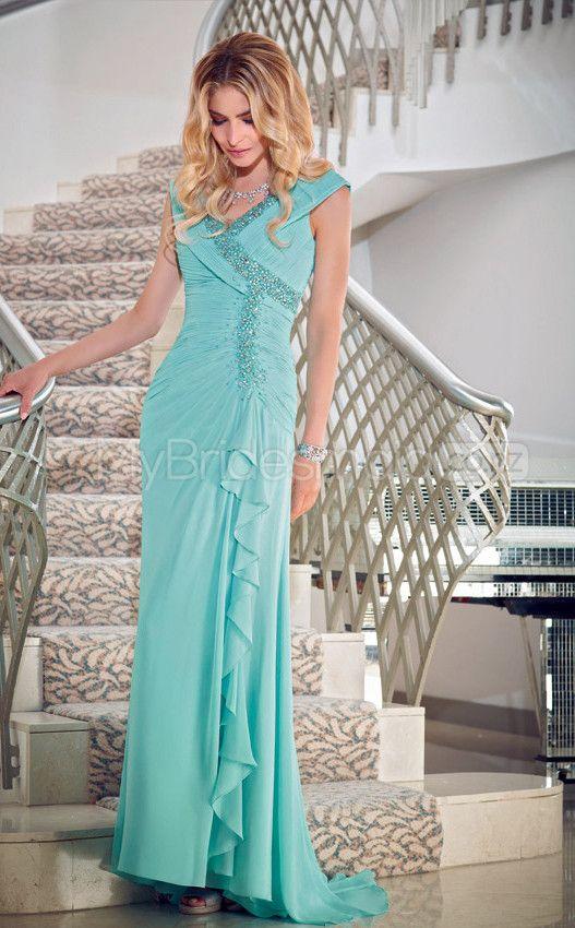 A-line V-neck Chiffon Long Ball Dresses(JT634)
