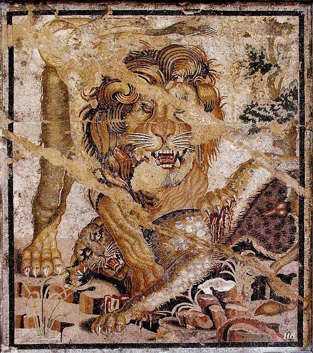 Lion mosaic. Pompeii, Italy