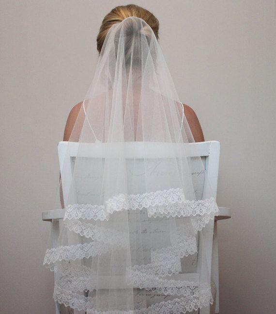 Veil-Ivory lace wedding veil with blush by BerkshireVeils on Etsy