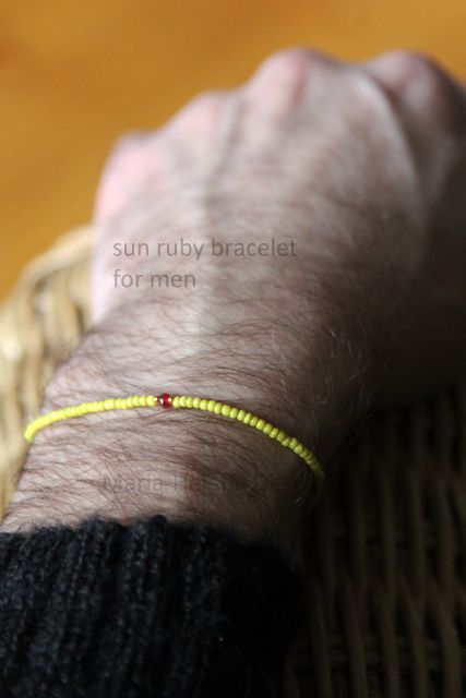 Men's small bead bracelet with ruby //Maria-Helena Design