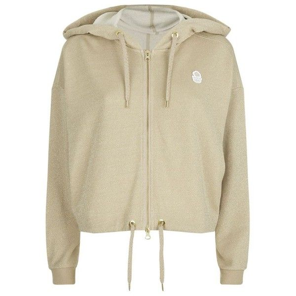 Adidas By Stella McCartney Team GB Cropped Glitter Hoodie ($80) ❤ liked on Polyvore featuring tops, hoodies, outerwear, gold sparkly top, gold crop top, jersey hoodie, jersey crop top and brown hoodie