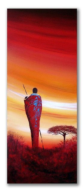 African sunset painting 'Maasai sunset' | by Sunset Contemporary Art by Shirley Shelton