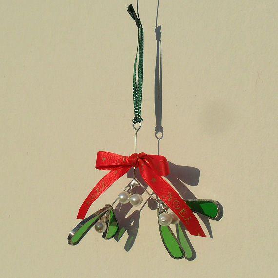 Stained Glass Mistletoe Christmas Tree Decoration