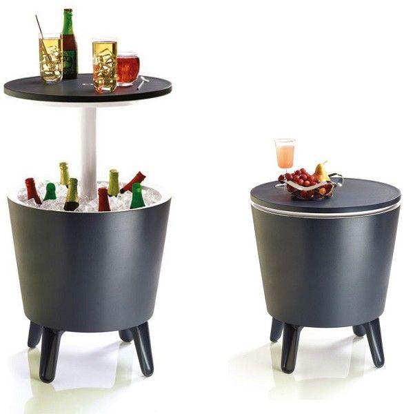 Keter Cool Bar antraciet 50x50 cm  De Keter Cool Bar is een 3 in 1 product. U kunt het product gebruiken als koelbox bijzettafel of partytafel. Als het product gesloten is heeft het ongeveer de hoogte van een stoel. Wanneer u het blad omhoog schuift komt het tot ongeveer heup hoogte. De Cool Bar kunt u vullen met ijsblokjes en uw drankjes koel houden. De Cool bar is uitermate geschikt om bij barbecues en tuin feestjes te gebruiken. De Cool Bar heeft een antracieten kleur en een trendy…
