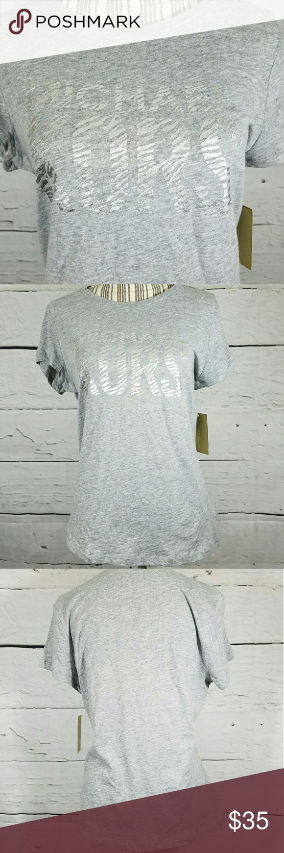 NWT Michael Kors Short Sleeve 100% Cotton Tshirt NWT Michael Kors Short Sleeve 100% Cotton Tshirt Tee Gray Metallic Silver Large  20 inches pit to pit.  26 inches long.    LB Michael Kors Tops Tees - Short Sleeve