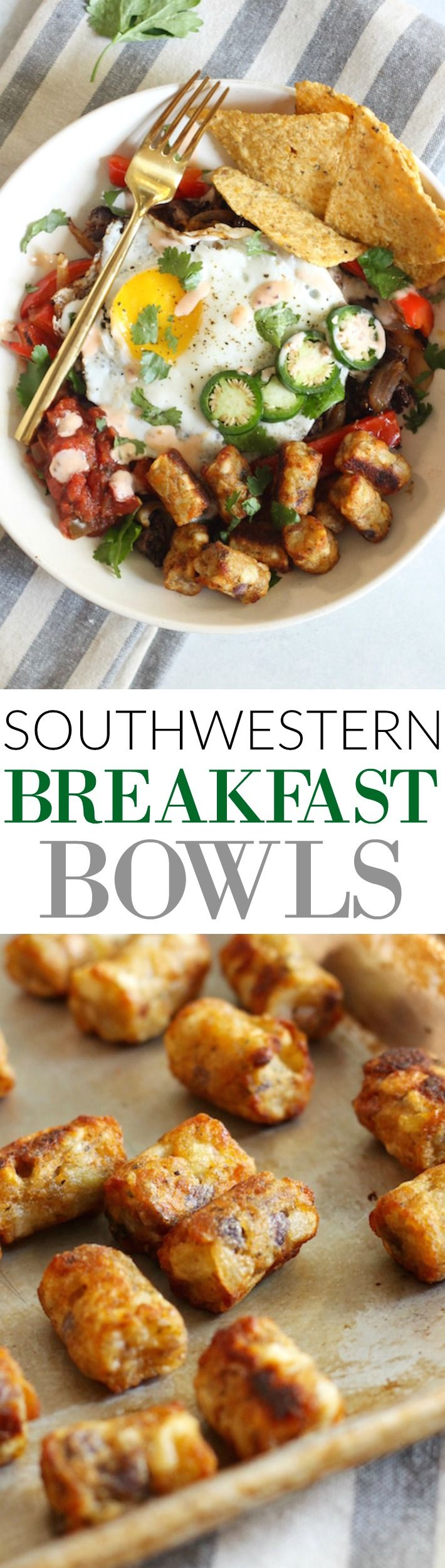 Loaded with eggs, beans, veggies, and potato puffs, these easy and tasty Southwestern Breakfast Bowls make the perfect healthy weekend breakfast! Gluten-free.