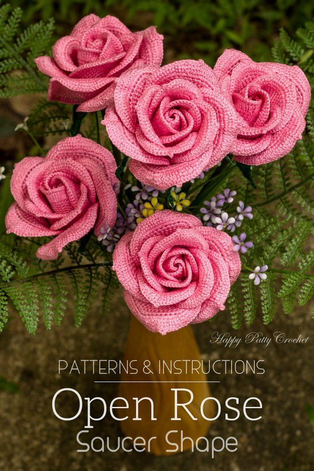 Crochet Flower Pattern by Happy Patty Crochet, Large crochet roses for bouquets, arrangements and decor