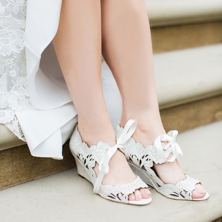 Harriet Wilde Peony Ivory Laser-Cut Leather Floral Wedges