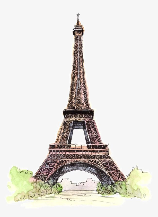 Beautifully Hand Painted Architectural Monuments Hand Painted Illustration Points Of Interest Famous City Png Transparent Clipart Image And Psd File For Free Eiffel Tower Digital Art Printables Watercolor Painting Etsy