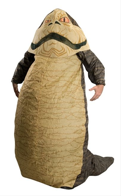 Inflatable Star Wars Jabba the Hutt Costume - Bo shuda! This is an inflatable Jabba the Hutt costume from Star Wars. This costume is like a giant rain coat. There is elastic at the neck, wrists, and ankles and a train behind. There is an inflator fan to keep the costume inflated. The headpiece goes over the head and sits on the shoulders. There is a ribbon inside the headpiece to tie under the chin. #starwars #yyc #costume