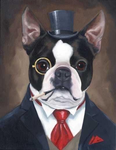 Boston Terrier American Gentleman 2 Art Print by rubenacker, $18.00