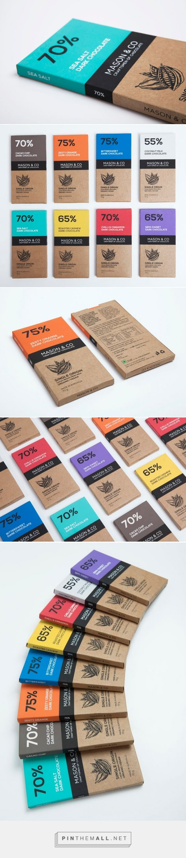 great cohesive packaging design for chocolate bars + color palette + illustration | simple and sweet | Mason & Co Chocolate Bars - The Dark Chocolate Collection on Packaging of the World - Creative Package Design Gallery http://www.packagingoftheworld.com/2014/12/mason-co-chocolate-bars-dark-chocolate.html
