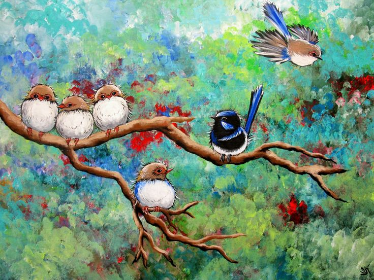 """""""Wrens in the Garden"""" Acrylic by Sally Ford"""