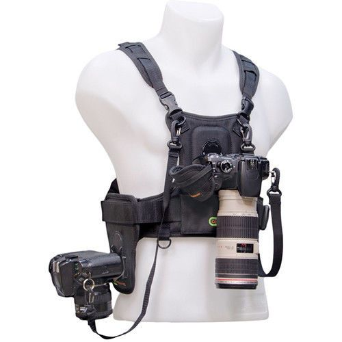 Cotton Carrier Camera Vest for All Camera Types with Side Holster (Black)