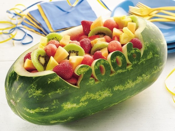 Carved watermelon bowl perfect for graduation parties