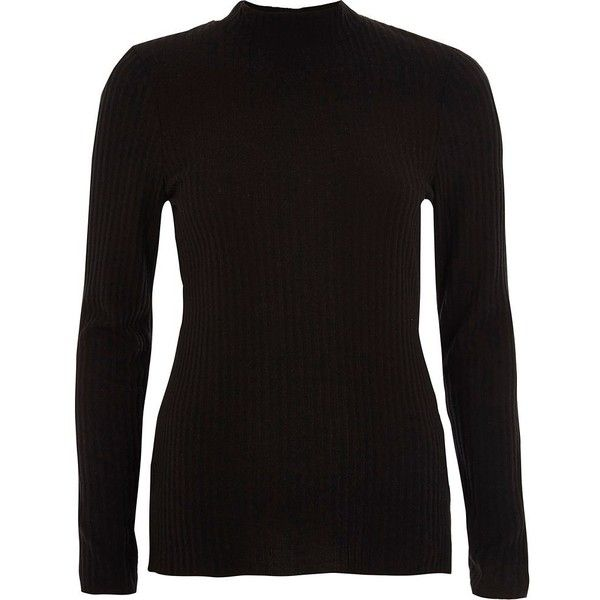 119745c5a3b River Island Black ribbed high neck fitted top ( 36) ❤ liked on Polyvore  featuring tops