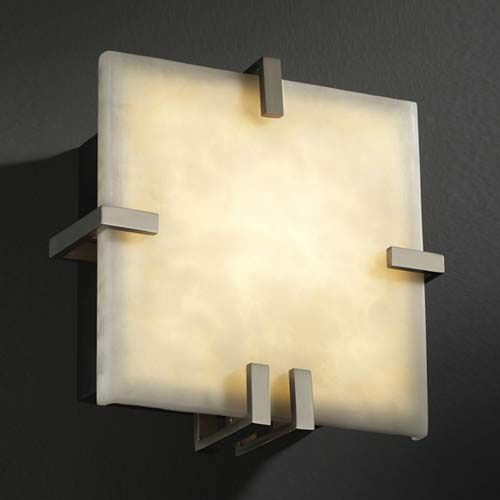 Justice Design Group Clips Square 1000 Lumen Led Wall Sconce Cld 5550 Nckl Led1 1000 In 2020 Sconces Wall Sconces Led Wall Sconce