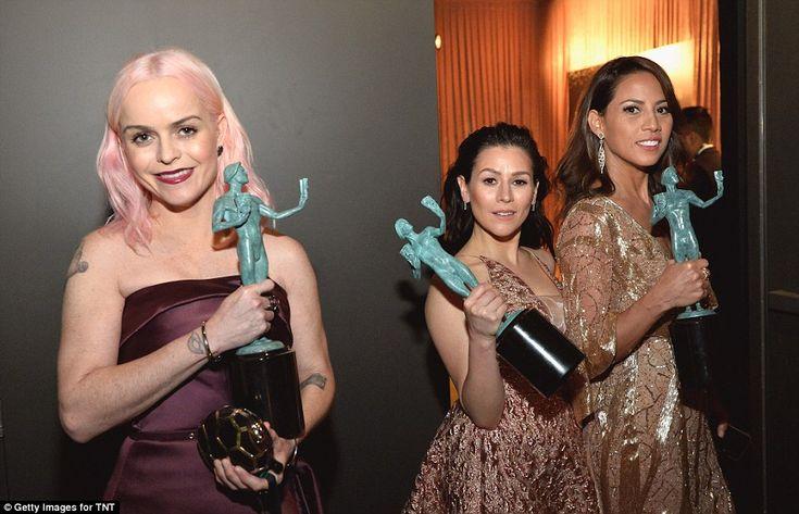 Glamorous: Taryn Manning, Yael Stone and Elizabeth Rodriguez from OITNB were dressed to im...