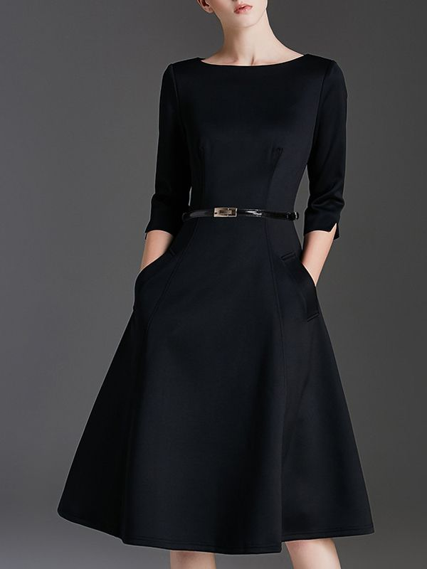 Black Plain Belted Waist Swing Midi Dress