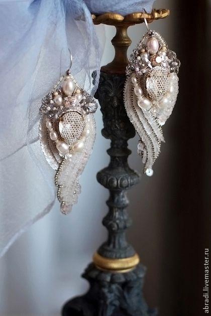 Серьги. - бледно-розовый,серьги,серьги ручной работы,серьги длинные,серьги с цветами