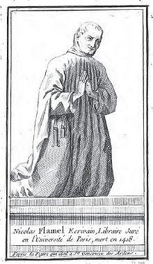 Nicolas Fllamela représentée in 1402 on the portal of Sainte-Geneviève des Ardens (From Stephen Francis Villain 1761)
