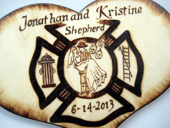 Firefighter Wedding Cake Topper Personalizable by RivdomArt, $23.95