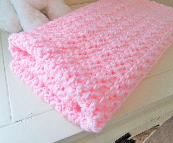 Pink Baby Blanket Crochet Baby Afghan Handmade by AmysCrochetCafe