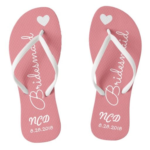Bridesmaid Wedding Favor Name or Initials Script Flip Flops